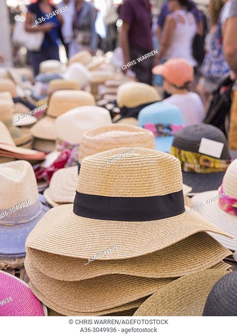 Hats on the Market Stalls Apt Vaucluse Provence-Alpes-Côte d'Azur France
