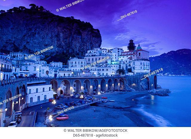 Evening Town View. Atrani. Amalfi coast. Campania. Italy