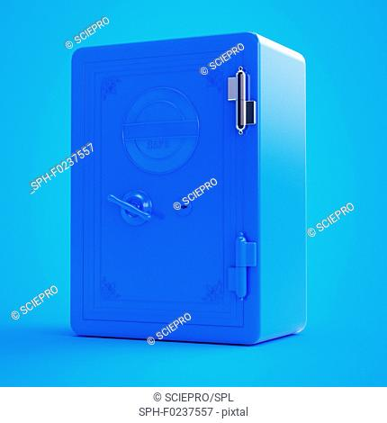 Illustration of a blue safe