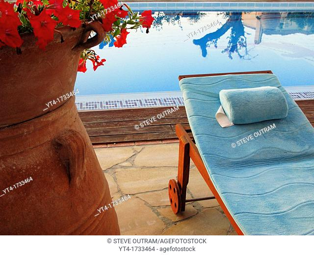 Sun Lounger and Swiming Pool, Crete, Greece