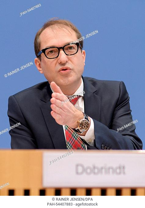 German Minister of Transport and Digital Infrastructure Alexander Dobrindt (CSU) speaks during a press conference on the proposed motorway car toll in Berlin