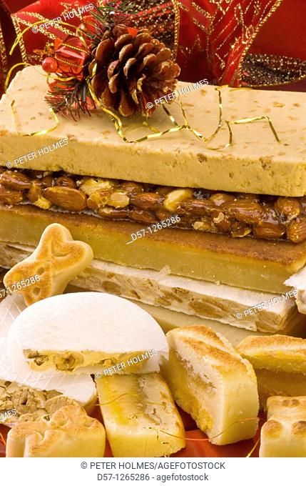 Assorted Spanish Christmas nougat in a red plate