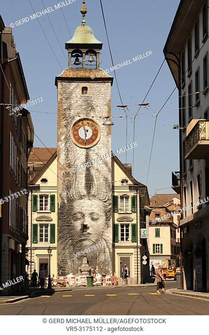 The clock-tower in Vevey-City at Lake Geneva