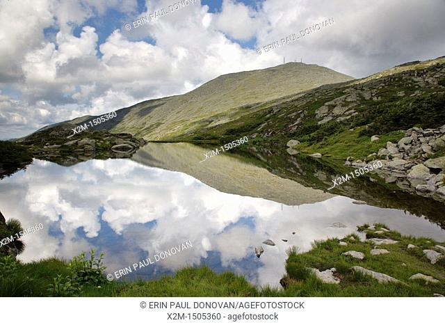 Reflection of Mount Washington in Lakes of the Clouds along the Appalachian Trail in the White Mountains, New Hampshire USA during the summer months