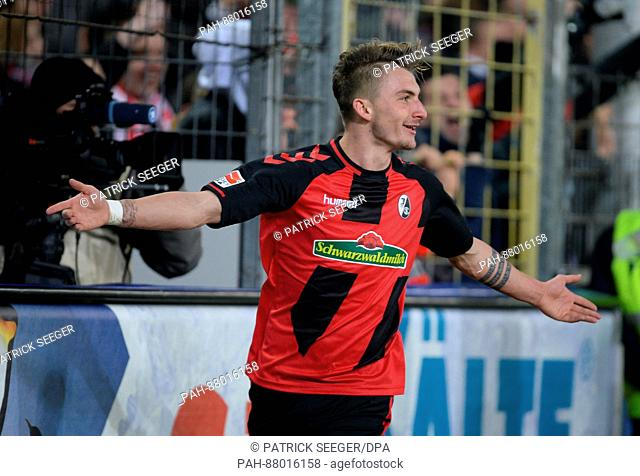 Maximilian Philipp from Freiburg cheers the 2:1 score during the German Bundesliga soccer match between SC Freiburg and 1
