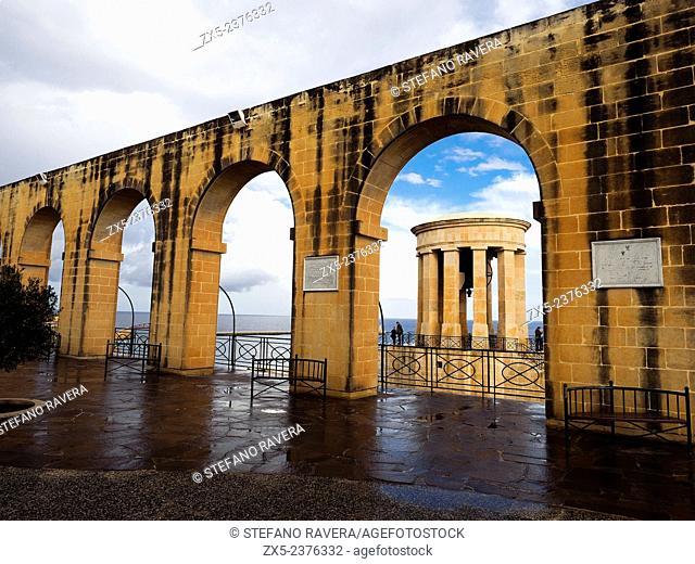The Siege bell monument, a World War II Memorial site in the Barakka gardens - Valletta, Malta