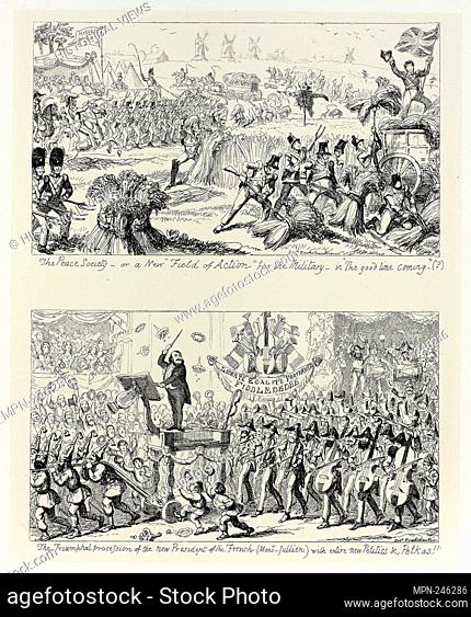 """The Peace Society, or a New """"""""Field of Action"""""""" for the Military - in """"""""The Good Time Coming"""""""" from George Cruikshank's Steel Etchings to The Comic Almanacks:..."""