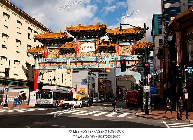 Washington, DC, Chinatown area with ceremonial entry gate over street