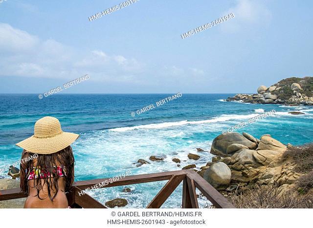 Colombia, Magdalena department, Tayrona National Park (Parque Nacional Tayrona) beach in Cabo San Juan del Guia