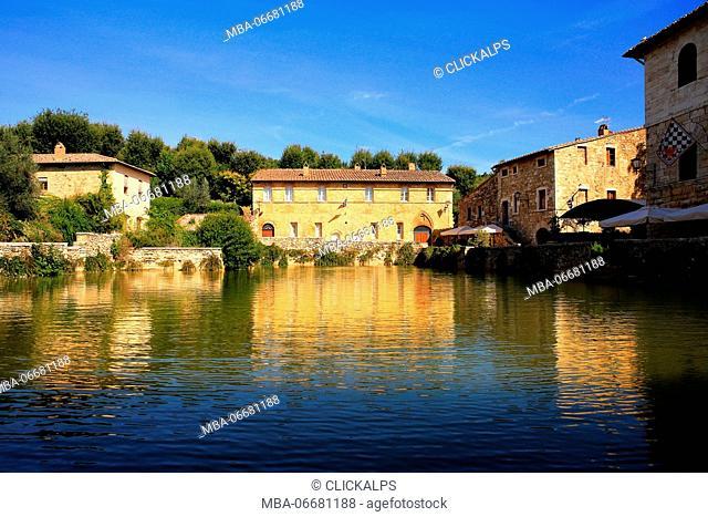 Bagno Vignoni village, Siena district, Tuscany, Italy