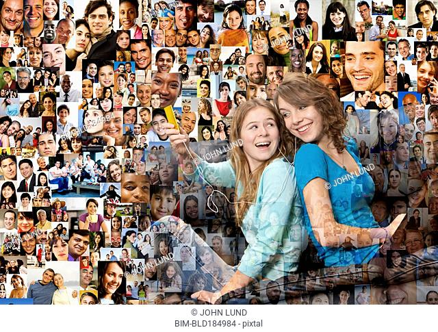 Collage of friends over collage of smiling faces
