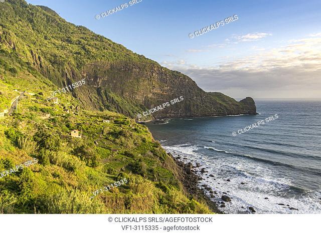 Atlantic coast and Clerigo point. Faial, Santana municipality, Madeira region, Portugal