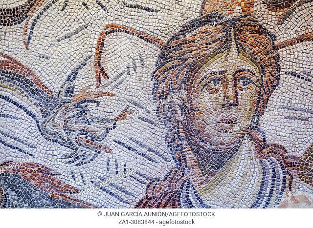 Roman Mosaic depicting sea-goddess Tethys at Jaen Museum. Fragment detail