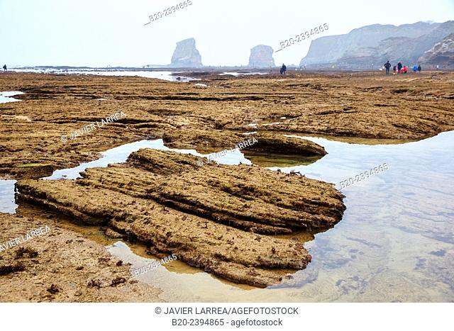 The tide of the century. Low Tide. Twin rocks. Beach. Hendaye. Aquitaine. Pyrenees Atlantiques. France