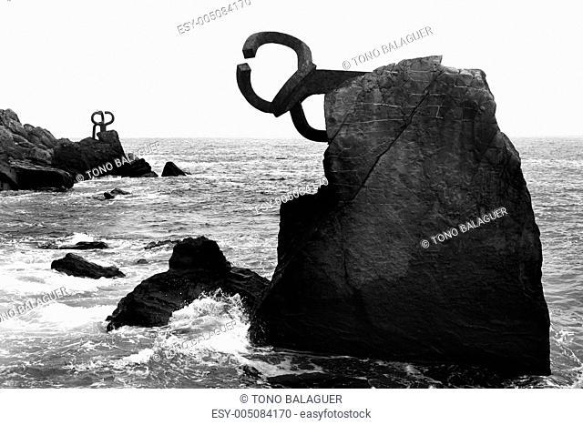 Chillida rusty steel sculpture in San Sebastian