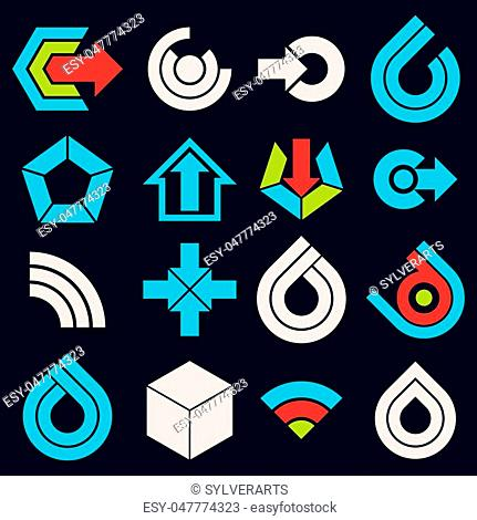 Vector multimedia signs collection isolated on black background. Flat blue abstract design elements, can be used in web and graphic design and as marketing...