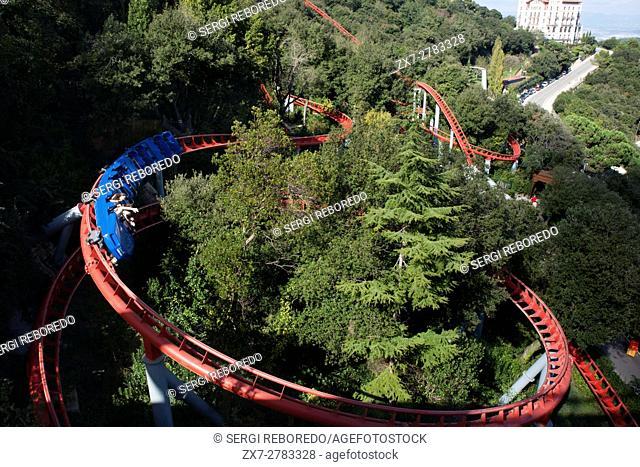 Roller coaster in The Tibidabo theme park, Barcelona, Spain. Tibidabo is a mountain overlooking Barcelona, Catalonia, Spain