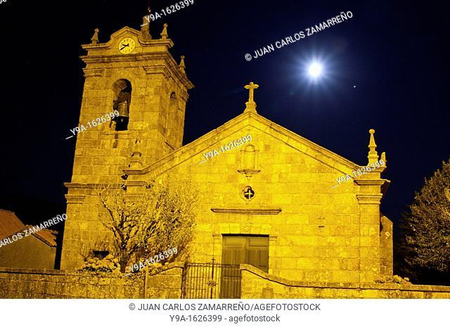 Castro Laboreiro church by night at the historical downtown, Peneda Geres National Park, Melgaco, Minho, Portugal