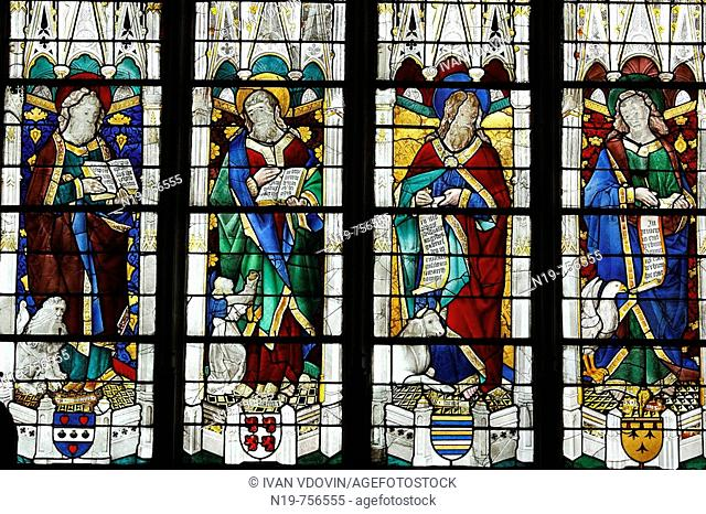 Stained glass window in Bourges Cathedral, UNESCO World Heritage Site, Bourges, France
