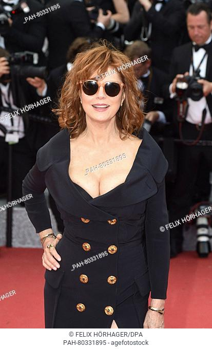 US actress Susan Sarandon arrive for the screening of 'Money Monster' during the 69th Annual Cannes Film Festival at Palais des Festivals in Cannes, France