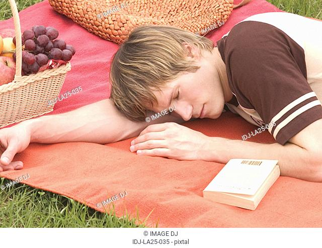 Side profile of a young man sleeping on a picnic mat