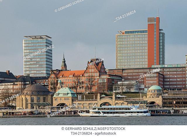 Landungsbrucken at Hamburg Harbour, Germany