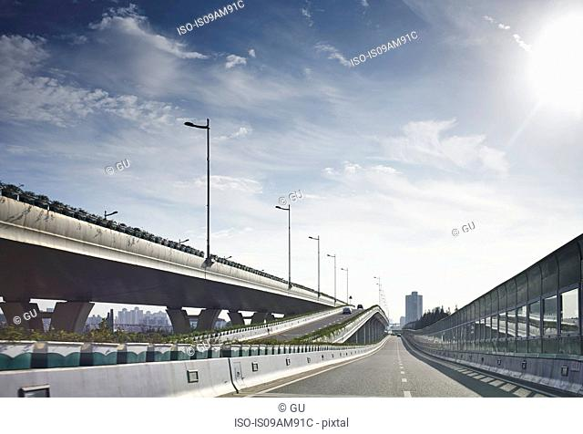 Empty flyover and highway, Shanghai, China