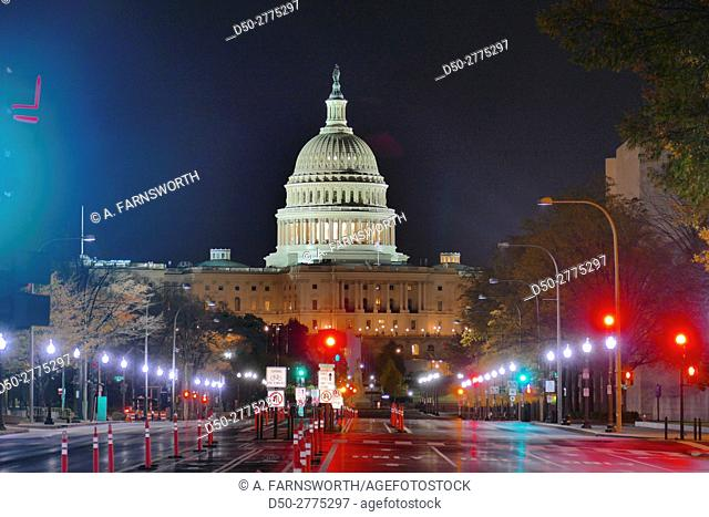 WASHINGTON DC Constitution Avenue and Pensylvannia Avenue. US Capitol