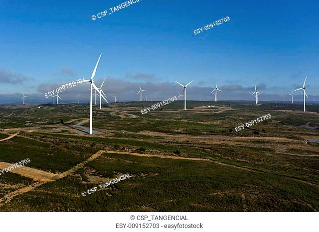 Aerial view of a set of windmills for electric power generation