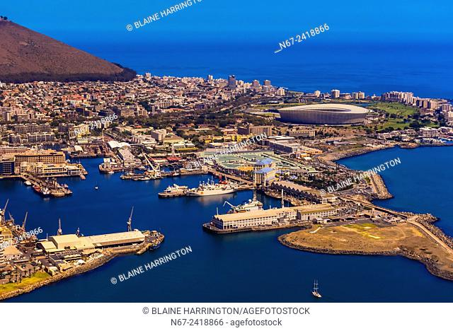 Aerial view of Table Bay Harbour with Signal Hill in background, Cape Town, South Africa