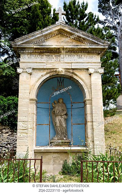 Christian Statue in the medieval Village Bonnieux, Provence, France