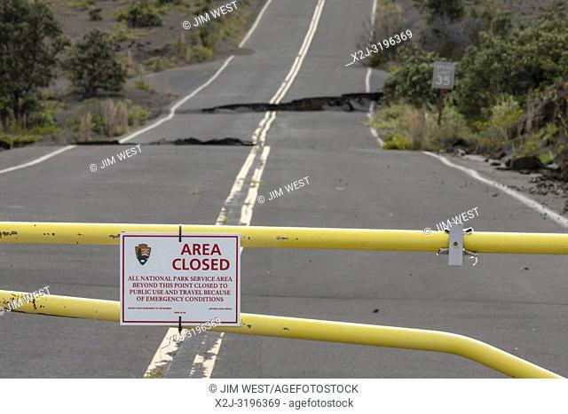 Hawaii Volcanoes National Park, Hawaii - Road damage from the 2018 eruption of the Kilauea volcano has closed the Crater Rim Drive