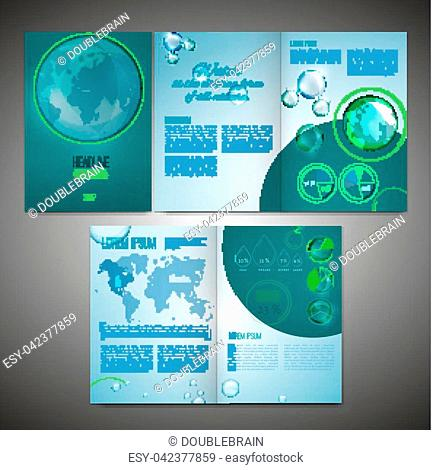 Vector ecological brochure template with infographic element. Modern background for poster, print, flyer, book, booklet, brochure and leaflet