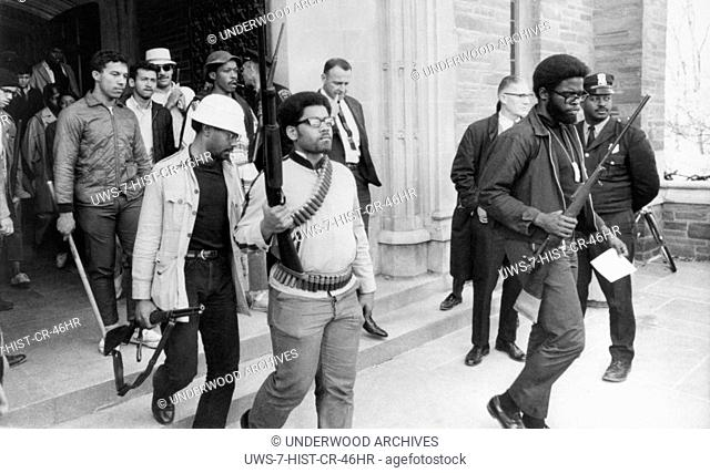 Ithaca, New York: April 20, 1969.Armed black students at Cornell University agree to evacuate after 36 hours a campus building they had barricaded themselves in...