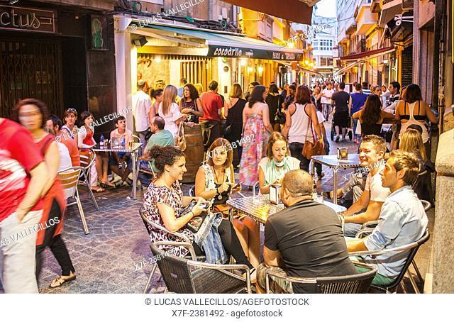 Restaurant terraces, Calle Barrera, Coruña city, Galicia, Spain