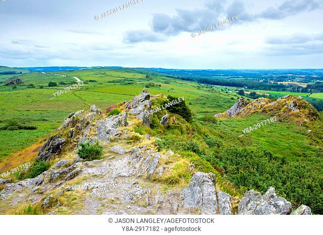 France, Brittany, Finistere, Plouneour-Menez. View from Roc'h Trevezel in the Monts d'Arree, Parc naturel regional d'Armorique