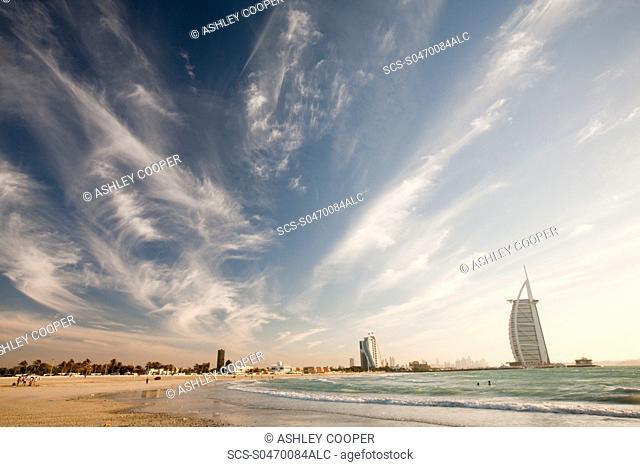 The iconic Burj al Arab hotel in Dubai, UAE