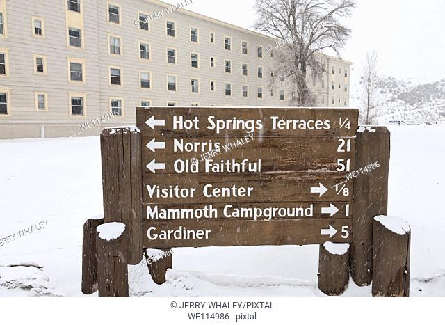 Mammoth Hot Springs Hotel, Winter, Yellowstone NP, WY