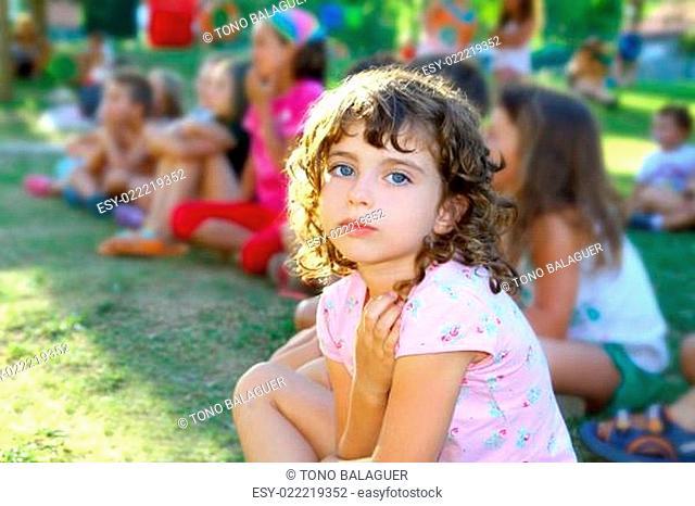 girl spectator little children looking show outdoor park