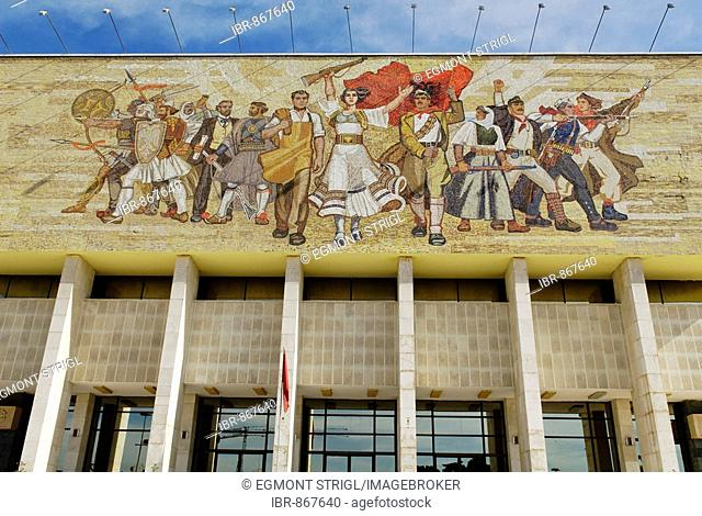 Socialist propaganda and hero mosaic on the National Museum, Skanderbeg Square, Tirana, Albania, Europe