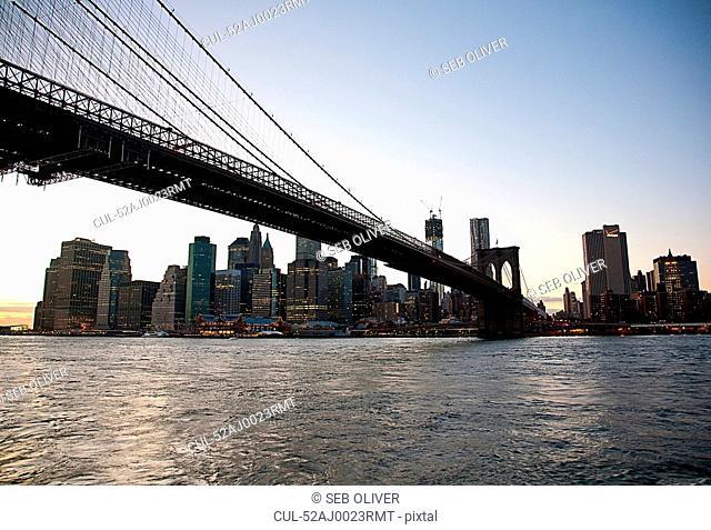 Urban bridge and city skyline