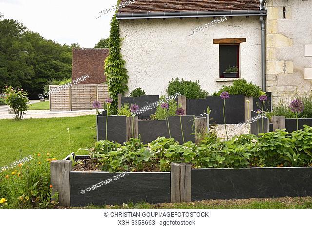 petit jardin du Restaurant Les Closeaux, Vallieres- les-Grandes, departement Loir-et-Cher, region Centre-Val de Loire, France