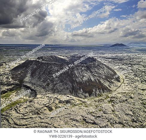 Aerial - Gullborgarhraun lava field, Snaefellsnes Peninsula, Western, Iceland