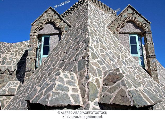 Windows, Torre Bellesguard, arch. Antoni Gaudi, 1900-1909, Sarria district, Barcelona, Catalonia, Spain