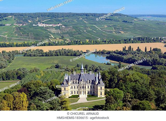 France, Marne, Boursault, the wine producing castle commissioned by Veuve Clicquot (aerial view)