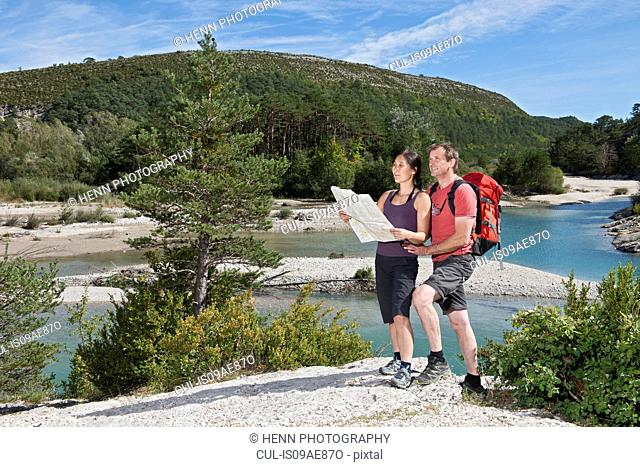 Couple with map, Canyon du Verdon, Provence, France