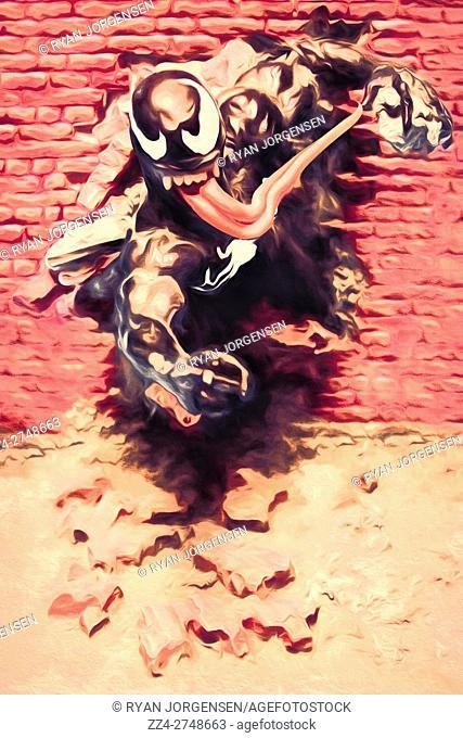 Digital comic artwork of Venom from Spiderman smashing through brick wall in a motion of fury