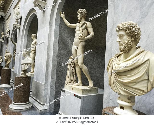 The New Wing (Braccio Nuovo) of the Chiaramonti Museum, Vatican museum, Vatican city, Rome, Italy