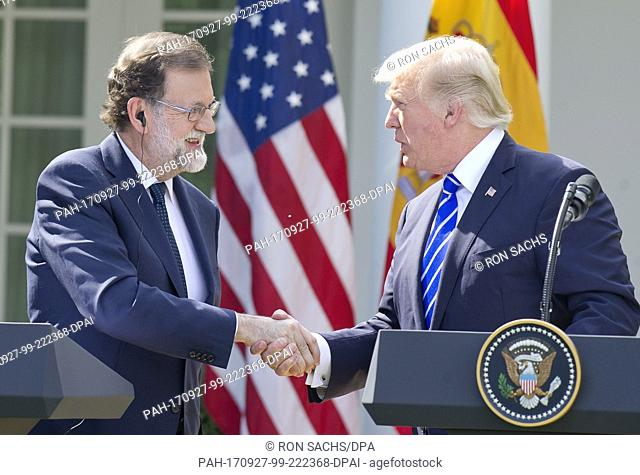 United States President Donald J. Trump, right, and President of the Government or Prime Minister Mariano Rajoy of Spain, left