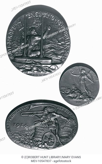 Three German medallions from the First World War. At the top is a large round medallion bearing the words: Gott Strafe England (May God Punish England) 18...